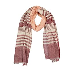 FabSeasons Red Striped Cotton Scarf, Scarves, Stole and Shawl for Men