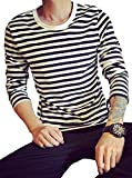 (ベクー)Bekoo メンズ ボーダー 柄 長袖 Tシャツ シンプル カットソー ロンティー インナー (02 ホワイト L)