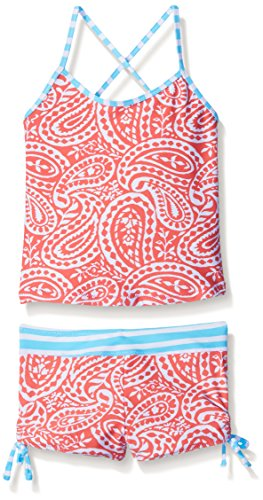 Tommy Bahama Big Girls Two Piece Paisley Tankini Swimsuit with Stripe Back, Red, 10