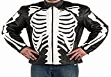 Reflective Skull Men's Black Leather Motorcycle Fashion Jacket by NYC Leather Factory Outlet