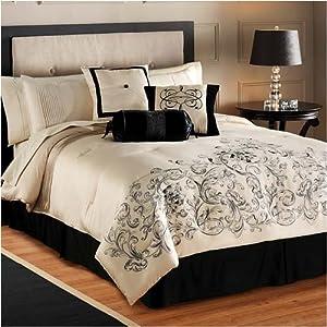 black and cream king 8 piece bedding set comforter sets