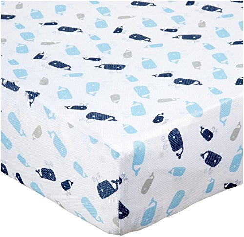 BreathableBaby Breathable Wick Dry Sheet- Whale Friends - Whale Friends - 1