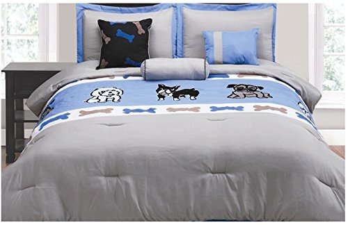 Amy Miller 7-Piece Dog Print Comforter Set, Queen