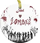 Rikki KnightTM Jabel Loves Zombies on Red Grunge Personalized with NameBevelled Glass Ornament