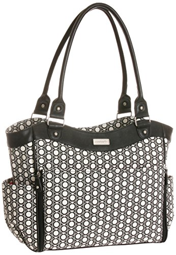 Carter's Convertible Zip Front Tote Diaper Bag, Black/Beige - 1