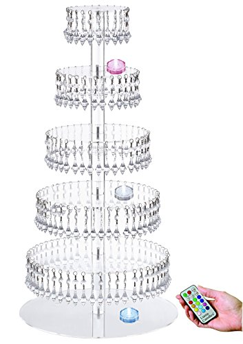 Acrylic Cupcake Tower Stand with Hanging Crystal Bead-wedding Party Cake Tower (6 Tier with LED Tea Light) (Hanging Acrylic Crystals compare prices)