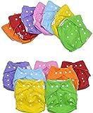 【DNEIL】 おむつカバー 素材 布薄型 カラフル 7色 セット サイズ調整可能 (緑、黄、水、桃、橙、紫、赤)