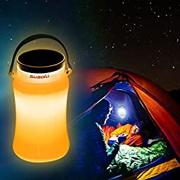 Suaoki Solar Camping LED Lights Lantern Collapsible Waterproof Silicone Body Ultra Portable with SOS Flashing - Yellow