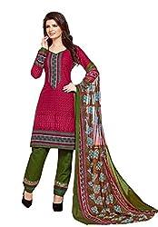 PADMiNi Ethnicwear Women's Dress Material Brown 1007