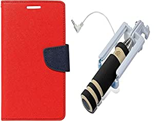 Novo Style Fancy Diary Wallet Flip Cover For Nokia Lumia 720 - Red + Selfie Stick-mini with Aux cable for smart Phone