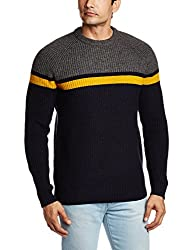 French Connection Men's Blended Sweater (886928614839_58EPK_Medium_Charcoal Melange and Golden Yellow)