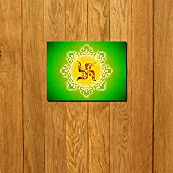 999Store doorhanging swastik brown art printed wooden framed door sticker (4 x 4 inches)