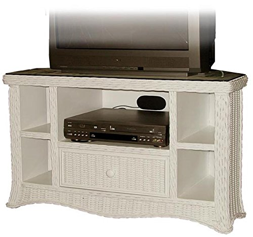 Florentine Whitewash Rattan and Wicker TV Stand with DVD Shelf