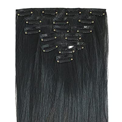 """MapofBeauty 23"""" Long Straight Clip in Synthetic Hair Extensions Hairpieces"""