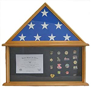 Military Shadow Box Burial/Funeral/Memorial Flag Display Case for 5' X 9.5' Flag, Oak Finish, Solid Wood (FC07-OA)