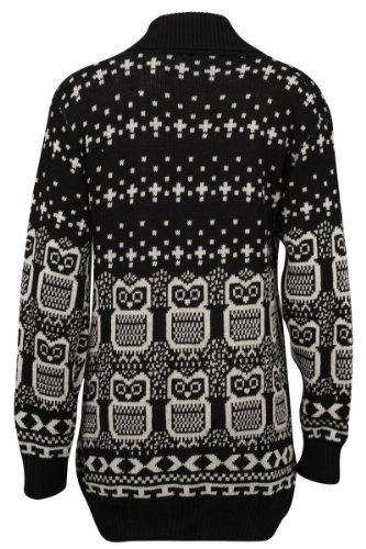 Forever Women's Long Sleeves Owl Print Knitted Cardigan (ML-10/12, Black)