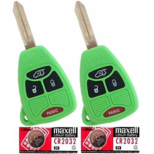 Discount Keyless Pair Of Green Replacement 4 Button Automotive Keyless Entry Remote Control Transmitter Key Combos With Extra Batteries Compatible With Chrysler, Jeep, And Dodge Vehicles Kobdt04A Oht692427Aa