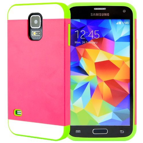 Celljoy [Vivid Hybrid] Tpu 2Pc Layered Hard Case Rubber Bumper For Samsung Galaxy S5 Sv (At&T / Verizon / Us Cellular / Sprint / T-Mobile / Unlocked) [Celljoy Retail Packaging] (Hot Pink / Lime)