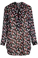 Curvy Boutique Womens Plus Size Sheer Frill Neck Printed Chiffon Tunic Top