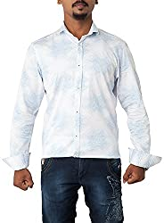 Passion Men's Regular Fit Casual Shirt (FS4968 SNLFS, White, Small)
