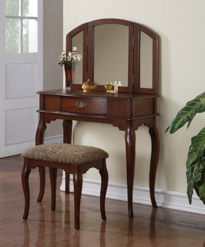 Elegant Cherry Storage Vanity Table, Mirror & Stool Set