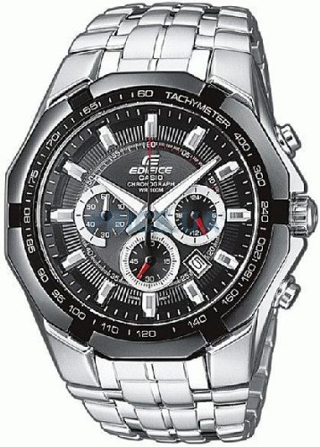 Casio Edifice EF-540D-1AVEF Men's Analog Quartz Watch with Chronograph and Steel Bracelet, Black
