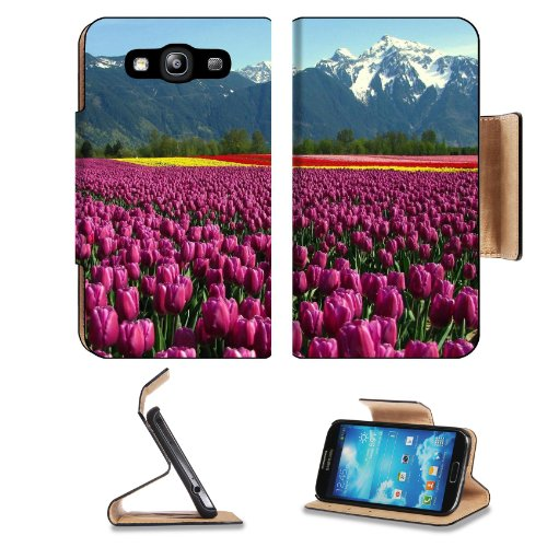 Tulips Field Mountain Netherlands Samsung Galaxy S3 I9300 Flip Cover Case With Card Holder Customized Made To Order Support Ready Premium Deluxe Pu Leather 5 Inch (132Mm) X 2 11/16 Inch (68Mm) X 9/16 Inch (14Mm) Liil S Iii S 3 Professional Cases Accessori