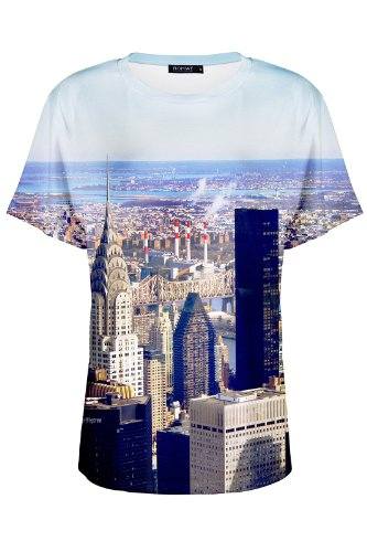 Romwe Women'S New York Scenery Print Short Sleeves Polyester T-Shirt-Colorful-M front-774778
