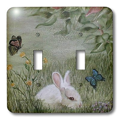 3dRose LLC lsp_44347_2 Bunny Rabbit in Grass with Butterflies Flying Nearby, Double Toggle Switch
