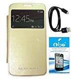 TBZ S-View Flip Cover Case For Samsung Galaxy Grand 2 With Screen Guard And Data Cable -Golden