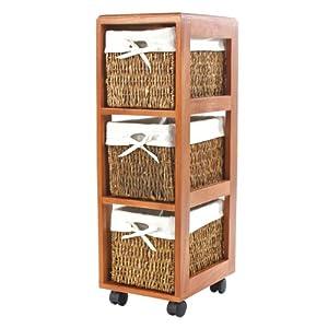 tag re colonne pise roulettes 3 paniers en osier 25x33x77cm cuisine maison. Black Bedroom Furniture Sets. Home Design Ideas