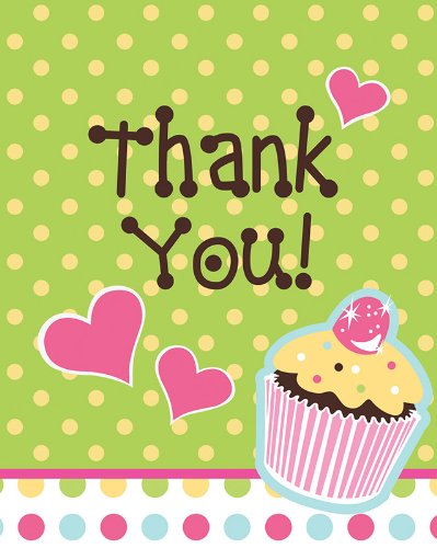 Creative Converting Sweet Treats Thank You Notes, 8 Count