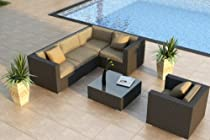 Hot Sale Urbana 5 Piece Modern Patio Sofa Sectional Set with Outdoor Wicker and Sunbrella Heather Beige (5476-0000) Cushions