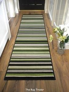 Modern Stripe Rug Green Black Hall Runner 60cm x 220cm