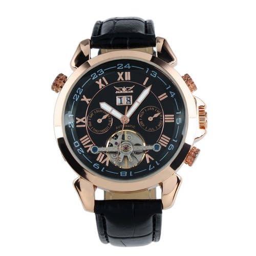 Jargar Men Black Tourbillon Rose Golden Aviator Automatic Mechanical Watch WM183
