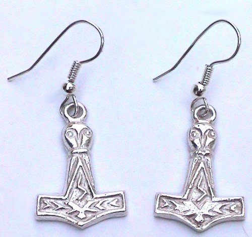 Sterling Silver Scandinavian Norse Viking Thor's Hammer Earrings
