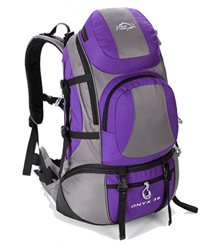 Zerd Outdoor Waterproof Nylon Mountaineering Camping Travel Backpack Trekking Bag 40L Purple front-262452