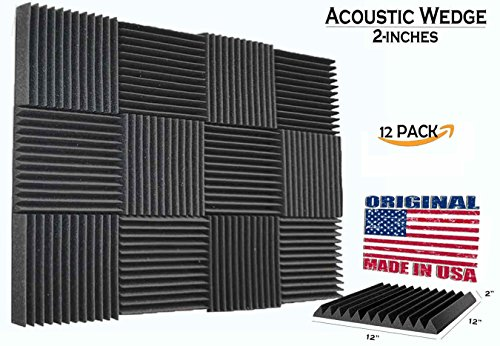 [Mybecca] 12 PACK Acoustic Wedge Soundproofing for Studio & Youtube Recording Wall Tiles 12 X 12 X 2 inch, Made in USA