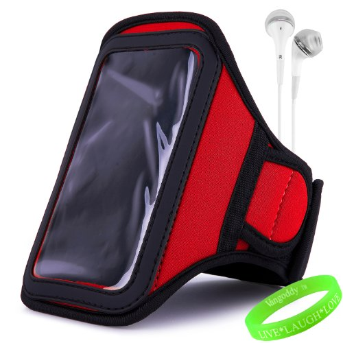 Vangoddy Active Bundle - Neoprene Sweat-Proof Armband Pouch W/ Key & Id Card Holder Fits Motorola Samsung Galaxy S4 Android Smartphone // Fire Red \\ + White Earphone Buds W/ Microphone