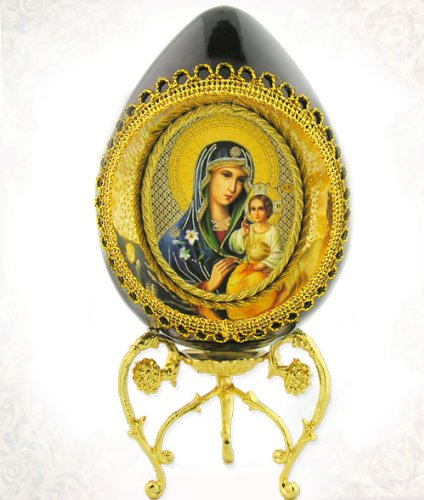 Virgin of Eternal Bloom Cut Out Egg with Gold Wood Wooden Russian Icon Egg Madonna & Child Gold Egg Stand