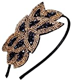 Beaded Flapper Headband Leaf Bunch Vintage Inspired Hairband Hair Accessory