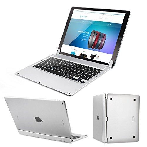 TeckNet X381 超薄型Apple iPad Pro 12.9 Bluetooth キーボード 内蔵スタンドグルーブ ディスプレイ付き シルバー