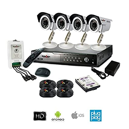 ROBORIX 4B-HD1K 4-Channel Dvr, 4 (720P) Bullet CCTV Cameras (With Accessories)