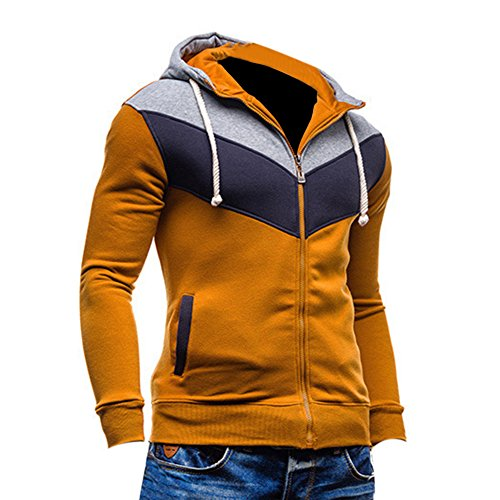 HUASHI Autumn Men's British Multicolor Slim Cardigan Hooded Fleece,Khaki,XXXL (British Khaki Mens Sweaters compare prices)
