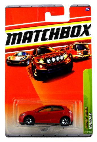 Mattel Year 2009 Matchbox Mbx Metro Rides Series 1:64 Scale Die Cast Car #27 - Red Sub-Compact Car Mazda2 front-316900