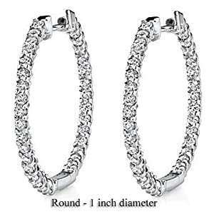 1.00 Carat (ctw) 14k White Gold Round Diamond Ladies In and Out Hoop Earrings