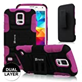Fintie Samsung Galaxy S5 Case - Guardian Series Dual Layer Holster with Kickstand and Belt Swivel Clip for Galaxy SV 2014 Smartphone, Black/Purple