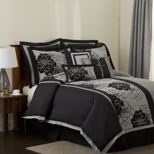 Lush Decor Pasadena 8 Piece Comforter Set King Black Gray Discount Comforters 4 Cyber