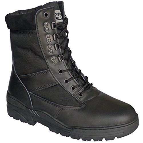 botas-de-combate-negras-en-piel-con-cremallera-lateral-ejercito-cadete-tactica-militar
