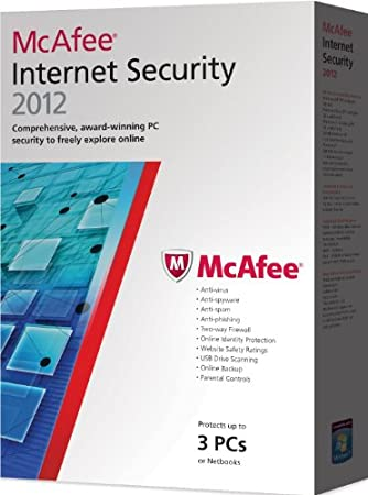 McAfee Internet Security  2012, 3 PC's, 12 month Subscription, Upgrade version from previous 2011 versions (PC)